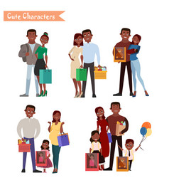 Set of characters and people shopping vector
