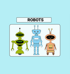 set of cute robots cartoon robotic character vector image