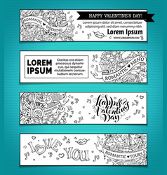 set of horizontal love doodles banners vector image