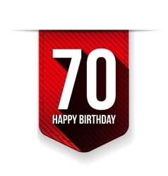 Seventy years happy birthday ribbon vector