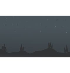 Silhouette of trees in hill scenery vector image