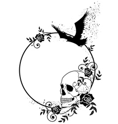 Skull raven and roses frame vector