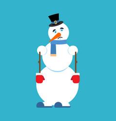 Snowman sad sorrowful emoji new year and christmas vector