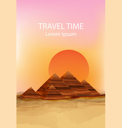 sunset in the dessert background hot vector image