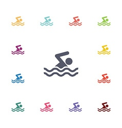 swim flat icons set vector image