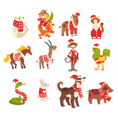 symbols of new year set cute animals of chinese vector image