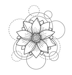 Tattoo with lotus and circles on white background vector