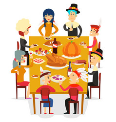 Thanksgiving family friends eat meal pie turkey vector