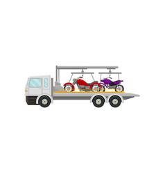 Tow truck carries motorbikes vector