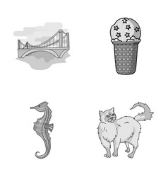 travel animals and other monochrome icon in vector image