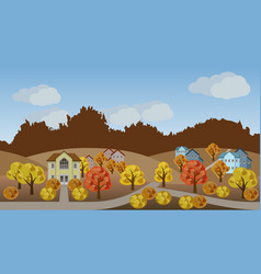 village autumn landscape scene vector image