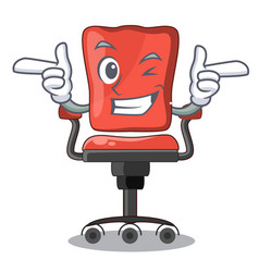 Wink cartoon desk chair in the office vector