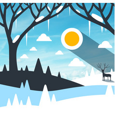winter landscape with snow on field and icicles vector image