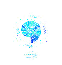 With ammonite sea theme vector