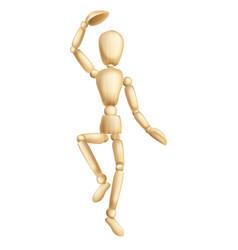 Wooden man dancing vector
