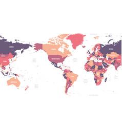 World map - america centered high detailed vector