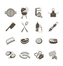 Barbecue And Grill Icons Black Set vector image