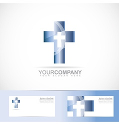 Blue cross 3d metal logo vector image