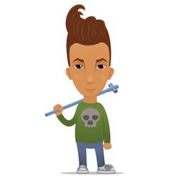 Cartoon hooligan with a pipe vector image vector image