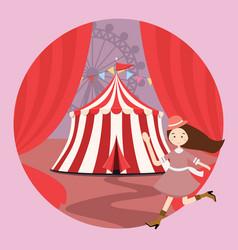 circus tent amusement park kid girls children open vector image vector image