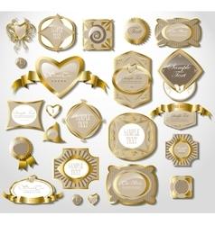 retro vintage set of white gold label vector image