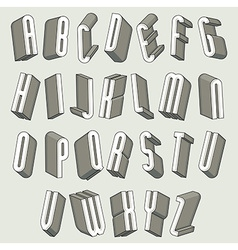 3d font thin and tall dimensional letters set vector image