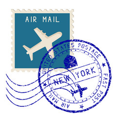 air mail stamp new york post round impress vector image vector image