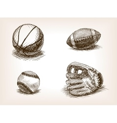 Ball and sport glove hand drawn sketch vector image vector image