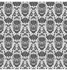 black seamless lace skull vector image