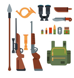 hunting weapons and symbols design elements flat vector image