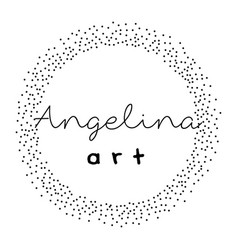 premade logo design with dotted wreath feminine vector image