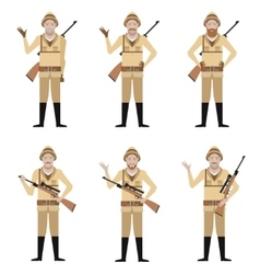 Set of safari hunters vector
