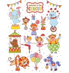 Cute collection of circus vector image