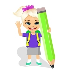 cute little girl holding big green pencil vector image
