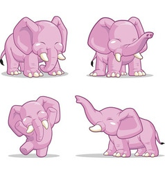 Elephant in Several Poses Standing Dancing vector image vector image