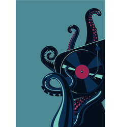 octopus tentacles with vinyl record turntable vector image