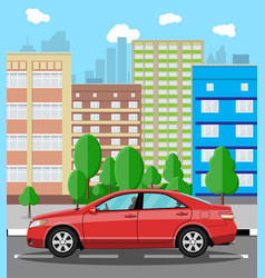 urban cityscape with red car vector image vector image