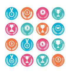 winner cups and awards wreaths icons vector image vector image