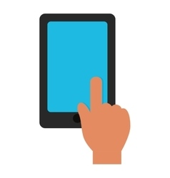 Hand touch tablet blue screen graphic vector