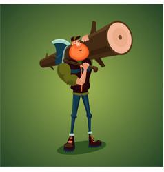 strong lumberjack carries axe and big log vector image