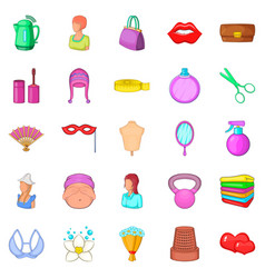women things icons set cartoon style vector image vector image