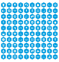 100 active life icons set blue vector image
