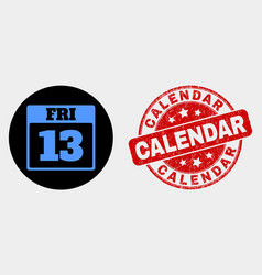 13 friday calendar page icon and grunge vector image