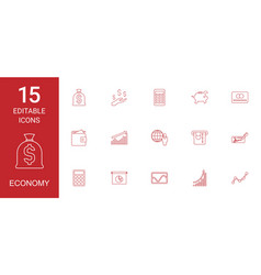 15 economy icons vector image