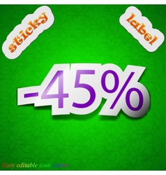45 percent discount icon sign Symbol chic colored vector