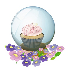 A crystal ball with a cupcake and flowers vector