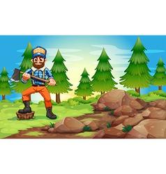 A woodman holding an axe near the rocky area vector
