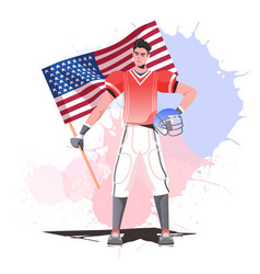 American football player holding usa flag happy vector