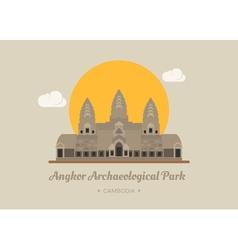 Angkor wat temple siem reap cambodia eps10 vec vector