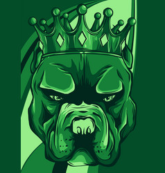 Angry pitbull head with crown vector